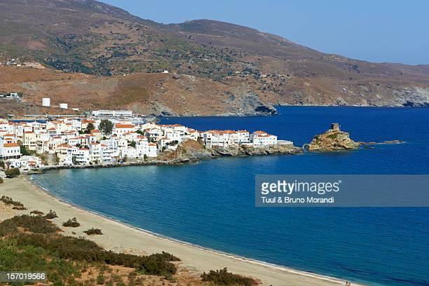 greece, cyclades, andros, city of hora - ver a hora stockfoto's en -beelden