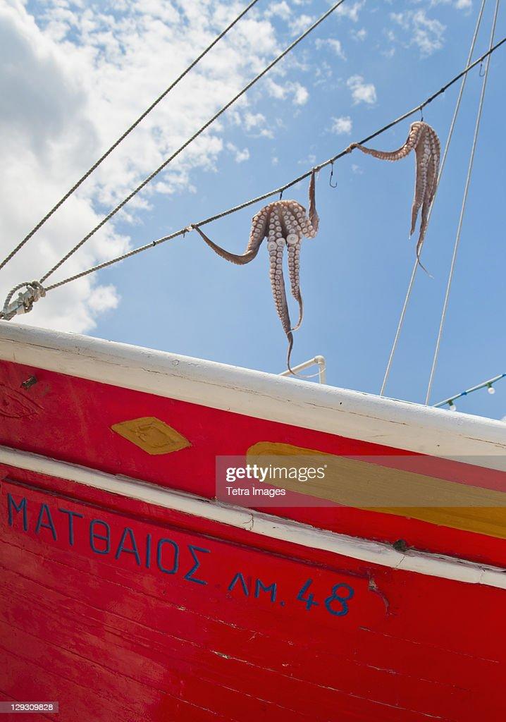 Greece, Cyclades Islands, Mykonos, Sun drying octopus on fishing boat : Stock Photo