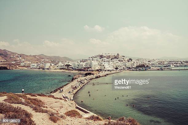 greece, cyclades, naxos city, harbour - naxos stockfoto's en -beelden
