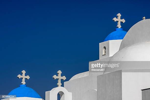 Greece, Cyclades, Naxos, view to Agios Nikodimos church in front of blue sky