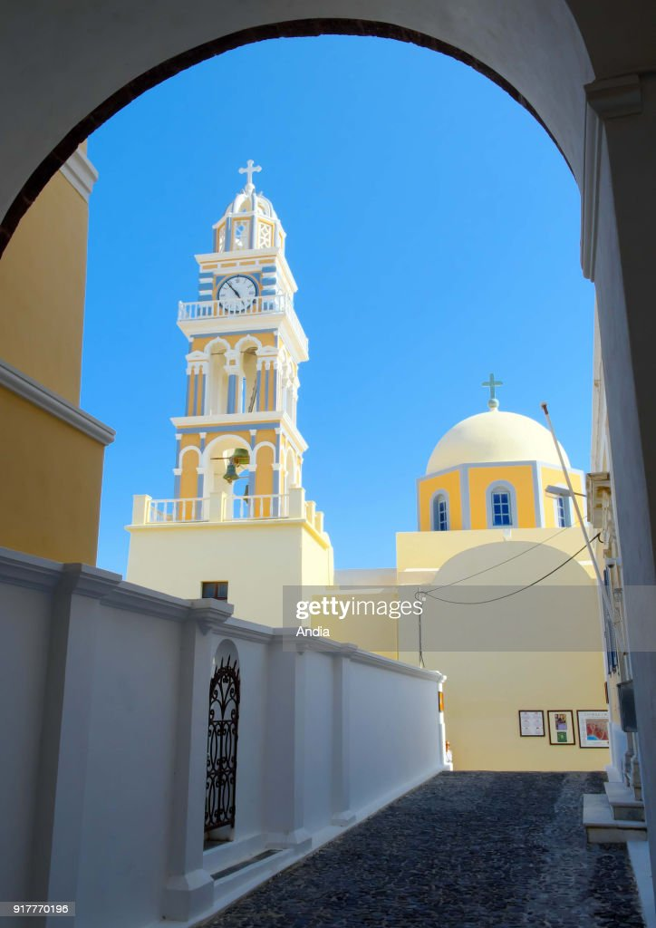 Greece, Cyclades, Santorini Island (also Thera or Thira): Cathedral of St John the Baptist in Fira.