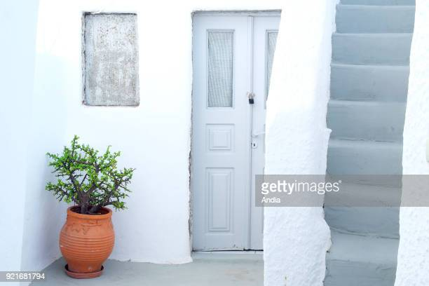 Greece Cyclades Santorini Island traditional house in the village of Fira Santorini archipelago Troglodyte dwelling in the volcanic cliff