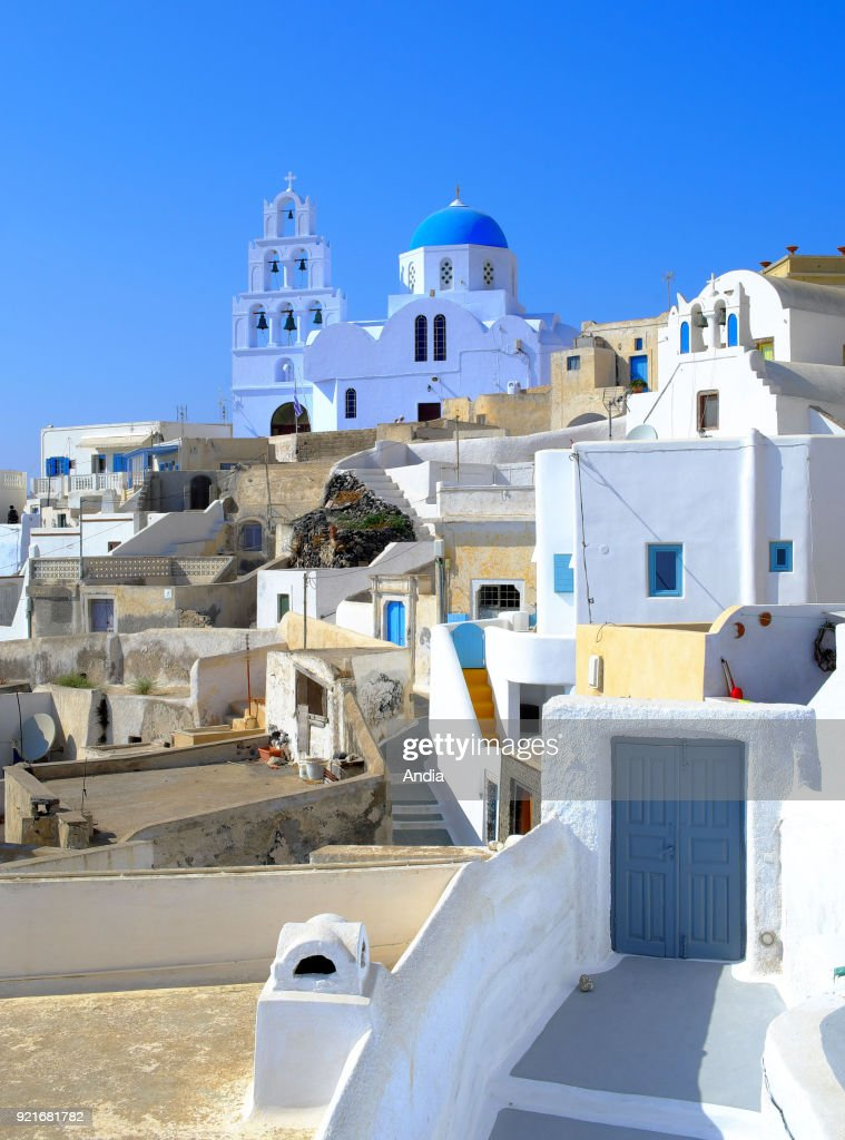 Greece, Cyclades, Santorini Island (also Thera or Thira): traditional houses in the village of Pyrgos. Houses with whitewashed walls.
