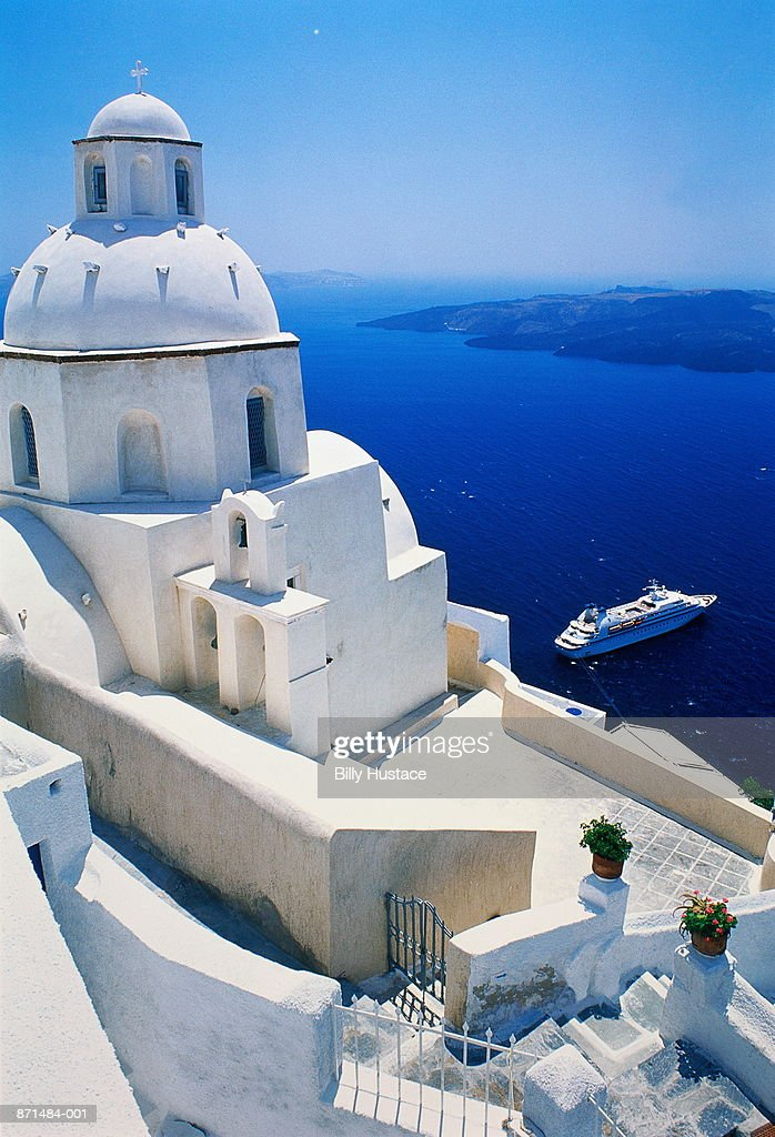 Greece, Cyclades, Santorini (Thira), whitewashed cafe, elevated : Stock Photo