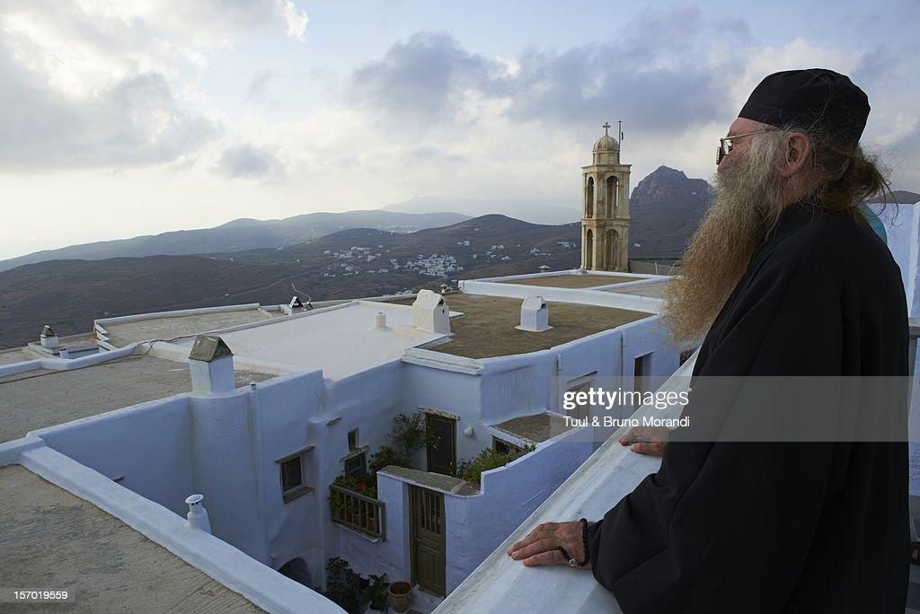 Greece, Cyclades, Tinos, Kechrovouniou Monastery : Stock Photo