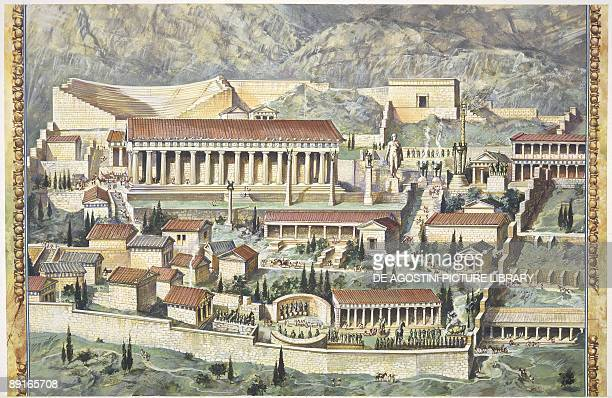 Greece Delphi reconstruction of Temple of Apollo illustration