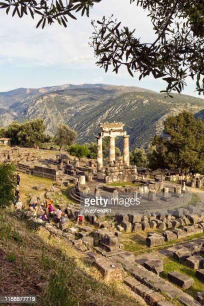 greece, delphi, tholos in the sanctuary of athena pronaia - temple grec photos et images de collection