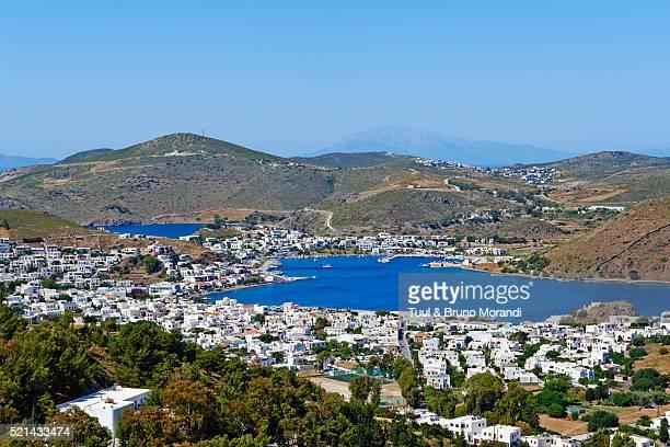 Greece, Dodecanese, Patmos, Skala cityscape