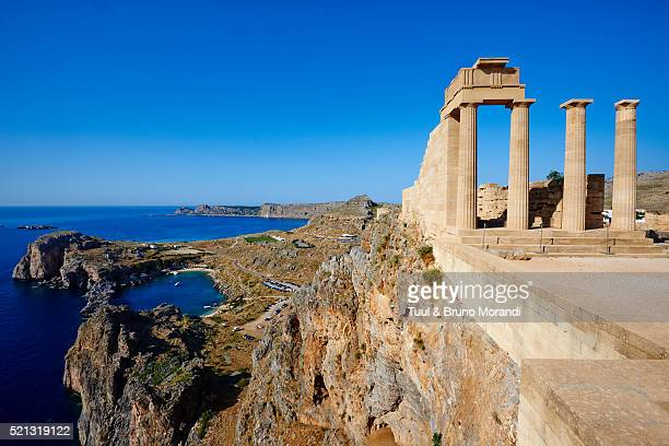 greece, dodecanese, rhodes, lindos acropolis - greece stock pictures, royalty-free photos & images