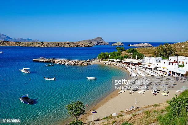 greece, dodecanese, rhodes, lindos beach - lindos stockfoto's en -beelden