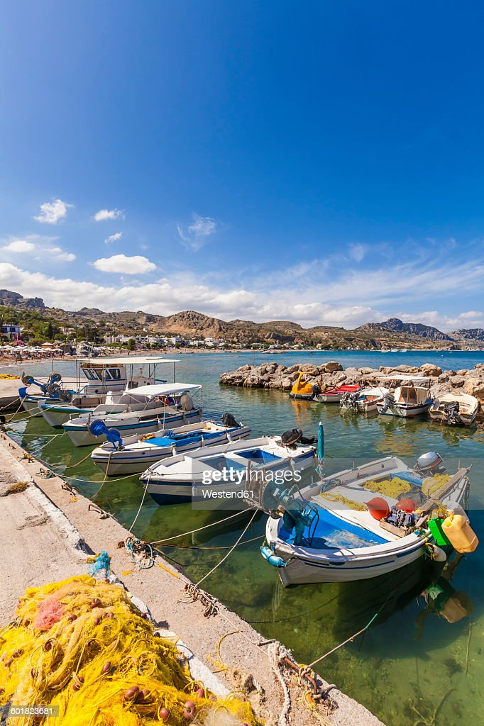 Greece, Dodecanese, Rhodes, Stegna, Fishing harbour : Stock Photo