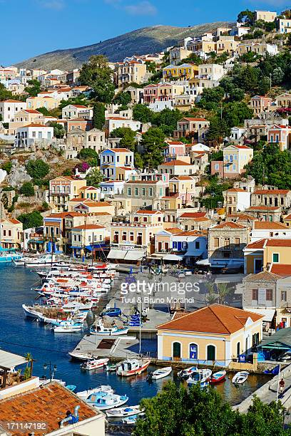 greece, dodecanese, symi, gialos harbour - symi stock photos and pictures
