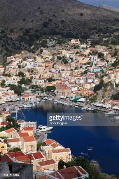 greece, dodecanese, symi, gialos, - symi stock photos and pictures