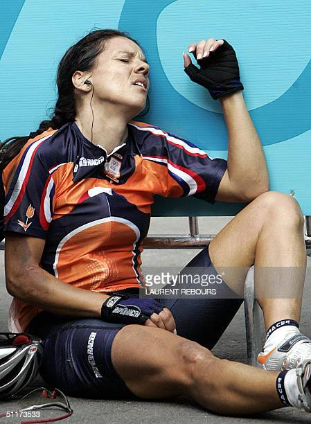 Dutch Leontien Zijlaard Van Moorsel reacts after a fall during the women's road race at the Olympic Summer Games 15 August 2004 in Athens AFP PHOTO...