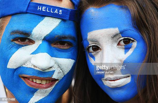 Greece fans look on ahead of the UEFA EURO 2008 Group D match between Greece and Spain at Stadion Wals-Siezenheim on June 18, 2008 in Salzburg,...