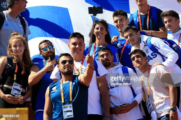 Greece fans take a selfie during day five of The IAAF World U20 Championships on July 14 2018 in Tampere Finland