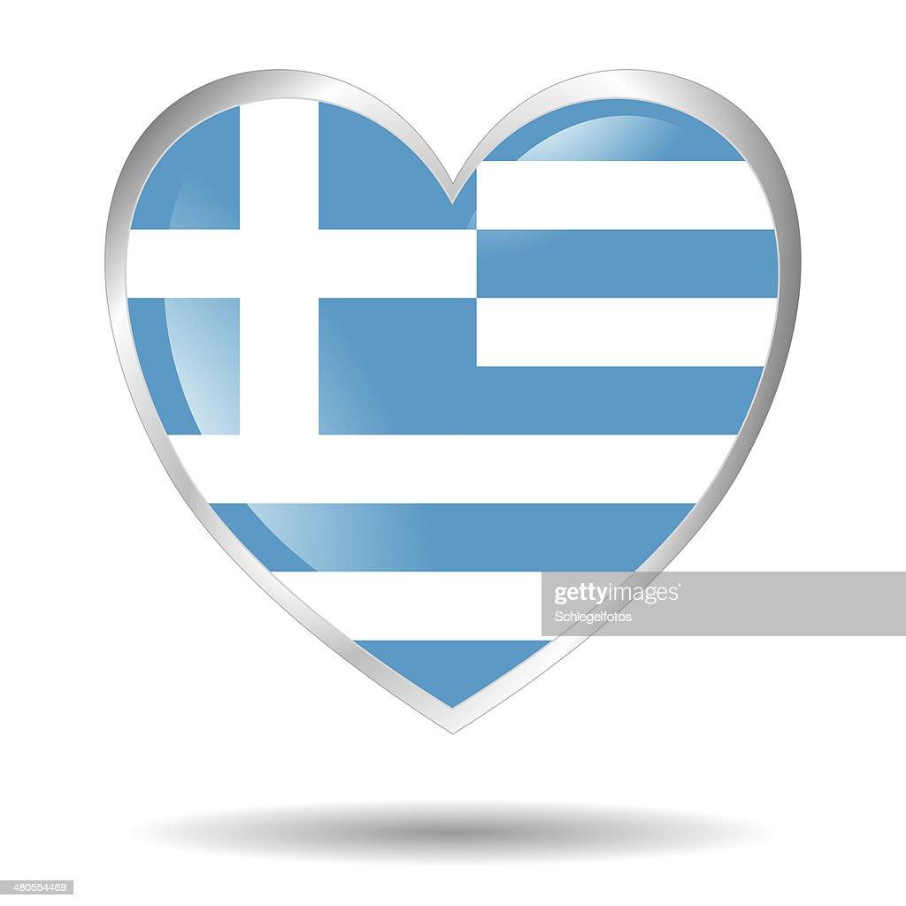 Grécia Bandeira Símbolo do Coração isolado : Foto de stock