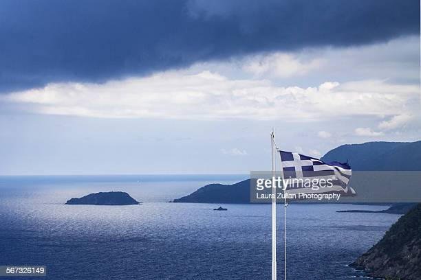 Greece Flag in the storm