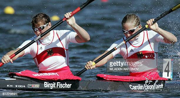 German Birgit Fischer and Carolin Leonhardt power to finish second in the Women's K2 500m final for the Athens 2004 Olympic Games at the Schinias...