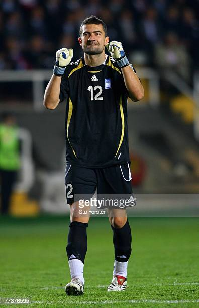 Greece goalkeeper Konstantinos Chalkias celebrates as his side score during the Euro 2008 Qualifying match between Turkey and Greece at Ali Sami Yen...