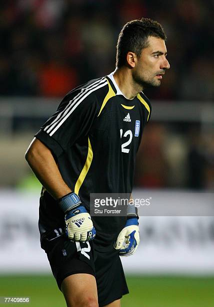 Greece goalkeeper Konstantinos Chalkias looks on during the Euro 2008 Qualifying match between Turkey and Greece at Ali Sami Yen Stadium on October...