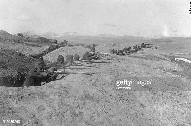 Greek Forces In Asia Minor Battle With Turks The Greek infantry forces in the trenches at 'ToulauBounar