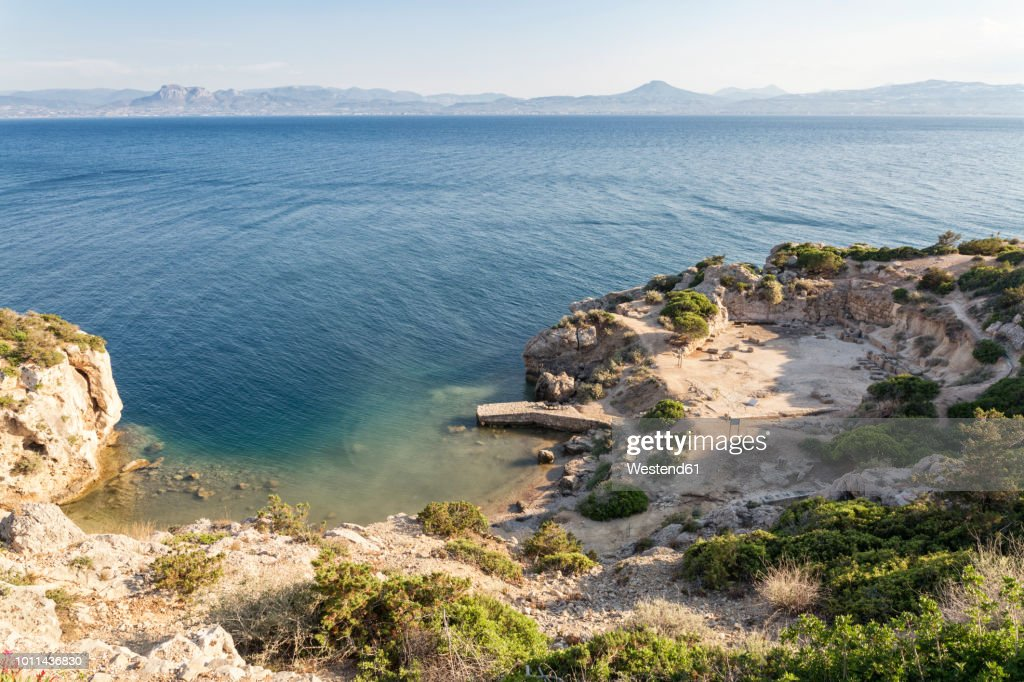 Greece, Gulf of Corinth, Loutraki, Heraion of Perachora, ancient excavation site : Stock Photo