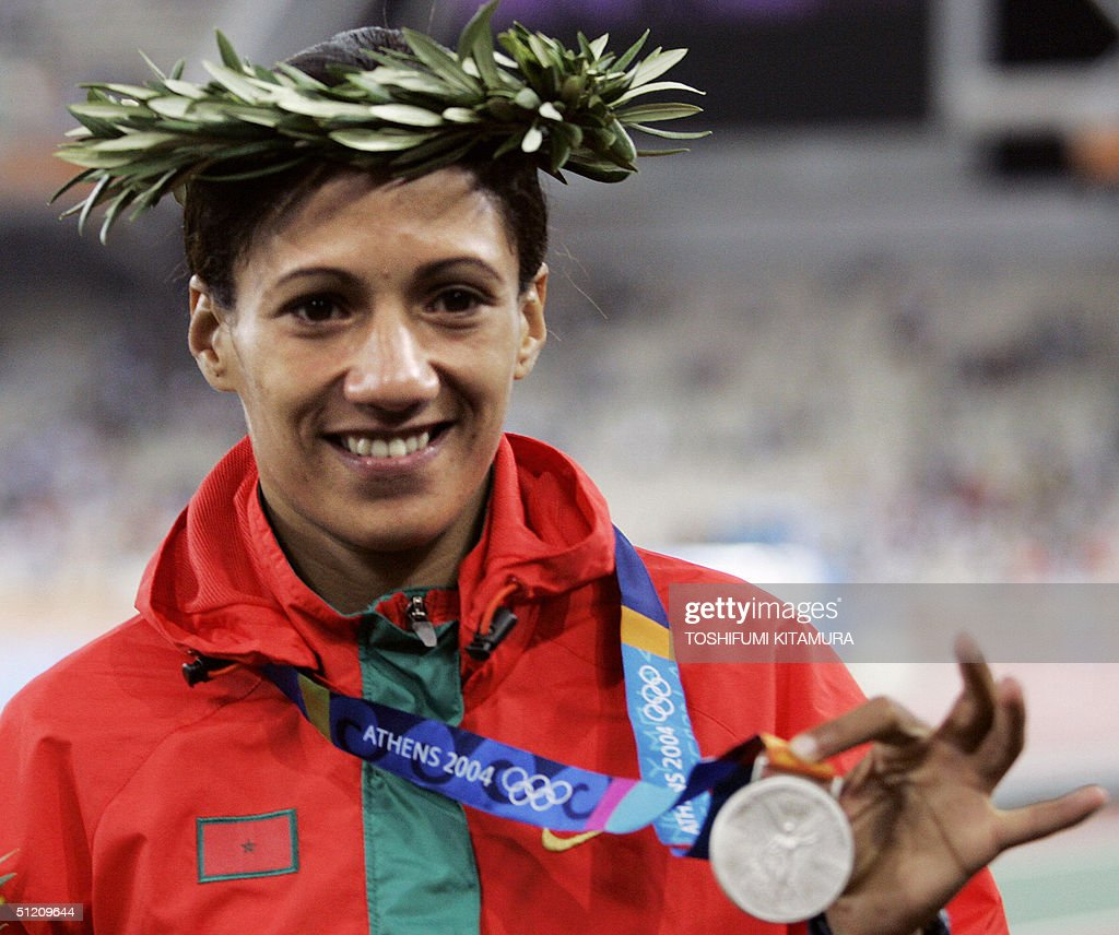 Hasna Benhassi of Morocco poses with the : News Photo