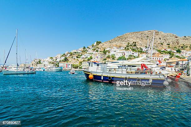 greece, hydra, port entrance - hydra greece photos stock pictures, royalty-free photos & images