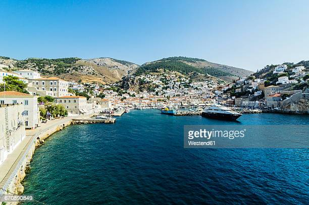 greece, hydra, view to the harbour - hydra stock photos and pictures