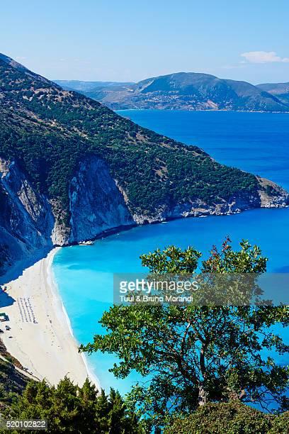 greece, ionian island, cephalonia, myrtos beach - peloponnese stock photos and pictures