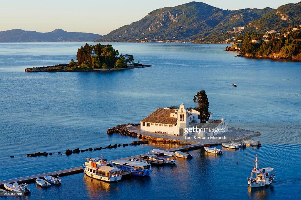 Greece, Ionian island, Corfu island, Kanoni, Vlacherna Monastery : Stock Photo