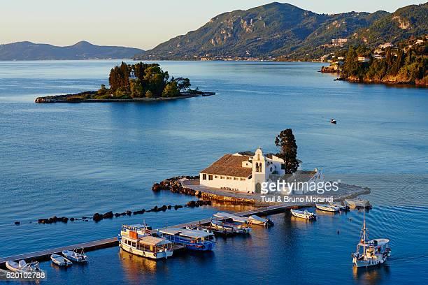 greece, ionian island, corfu island, kanoni, vlacherna monastery - corfu stock pictures, royalty-free photos & images