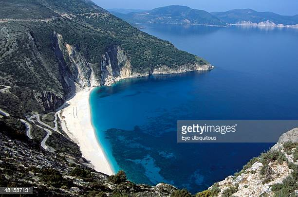 Greece Ionian Islands Kefalonia Myrtos Beach from cliff top
