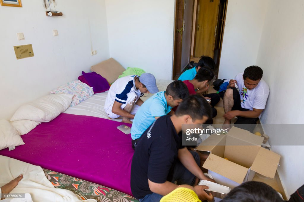 Greece, island of Kos, on . Migrants in the abandoned 'Captain Elias' hotel, now the refuge of hundreds of migrants. The island of Kos is only 4 km away from Turkey and is an interim location for migrants mainly coming from Afghanistan and Syria.