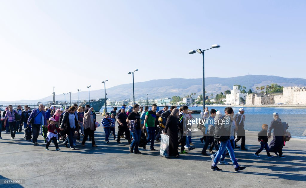 Greece, island of Kos, on . Migrants, mainly from Syria arriving on the island of Kos, from Turkey. The island of Kos is only 4 km away from Turkey and is an interim location for migrants mainly coming from Afghanistan and Syria.