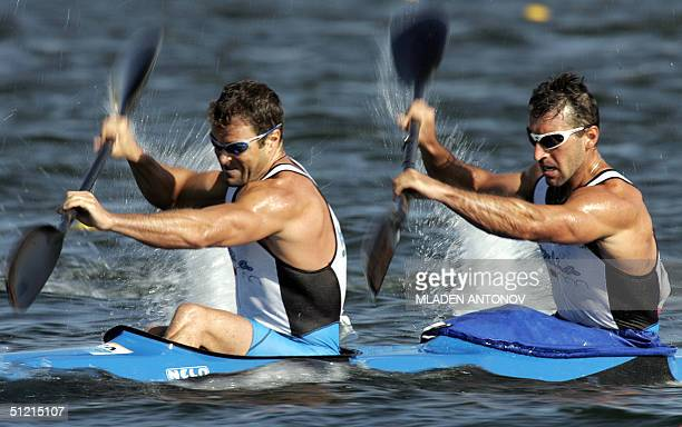 Italian Antonio Rossi and Beniamino Bonomi power to second place during the Men's K2 1000m semifinals for the Athens 2004 Olympic Games at the...