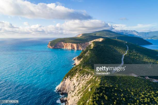 greece, lefkada, aerial view of cape lefkadas - greek islands stock pictures, royalty-free photos & images