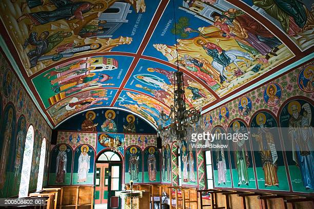 greece, lesvos, mytilini, filia, limonos monastery interior - mytilene stock photos and pictures