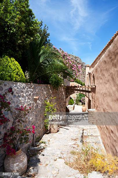 greece, monemvasia, alley in old town - peloponnese stock photos and pictures