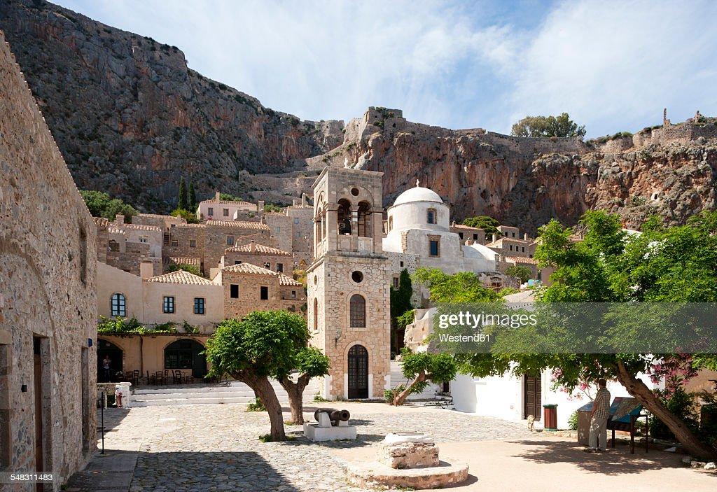 Greece, Monemvasia, bell tower of Greek Orthodox Church Christi Elkomenos : Foto de stock