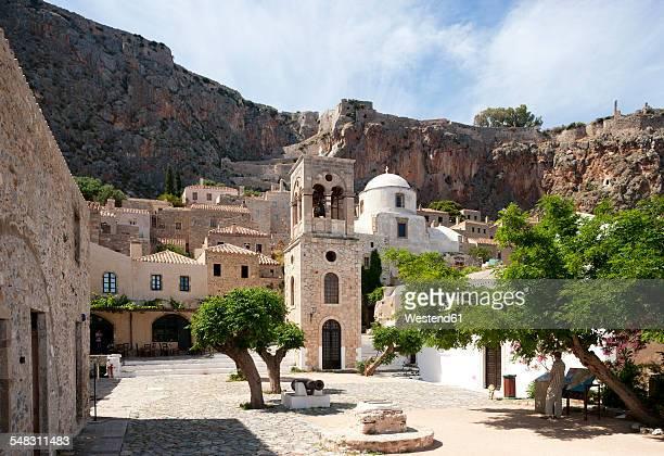 greece, monemvasia, bell tower of greek orthodox church christi elkomenos - peloponnese stock photos and pictures
