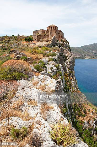 greece, monemvasia, byzantine church hagia sophia - monemvasia - fotografias e filmes do acervo