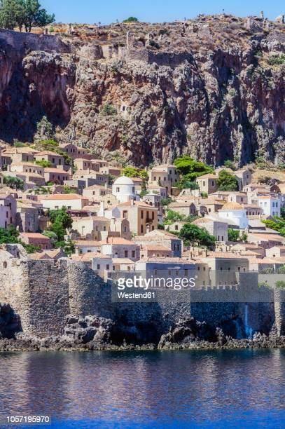greece, monemvasia, townscape - peloponnese stock photos and pictures