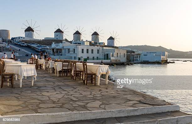 Greece Mykonos Chora View Of The Historic Windmills From The Little Venice Area