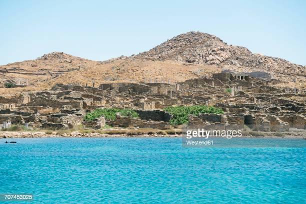 Greece, Mykonos, Delos, archaeological site and Aegean Sea