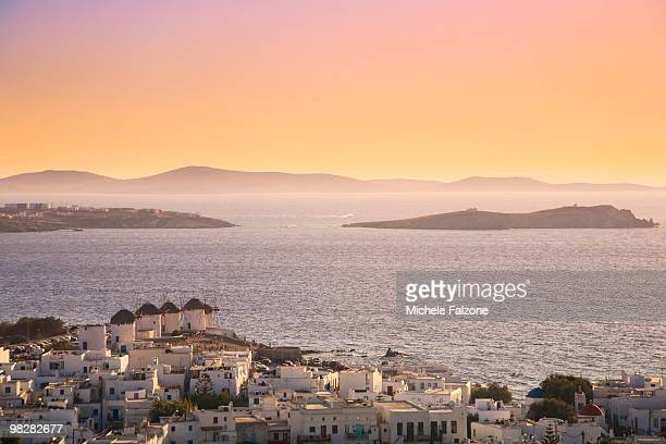 Greece, Mykonos town and windmills