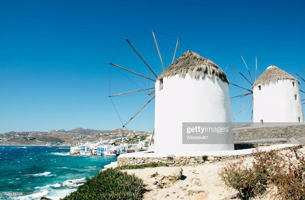 Greece, Mykonos, view of traditional windmills : Stock Photo