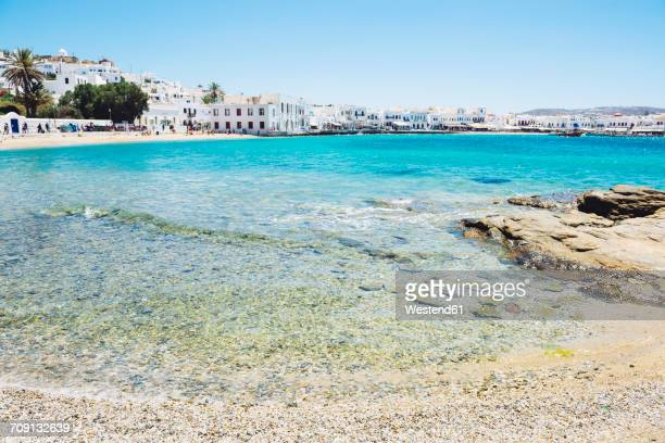 Greece, Mykonos, view to the city from Agia Anna Beach