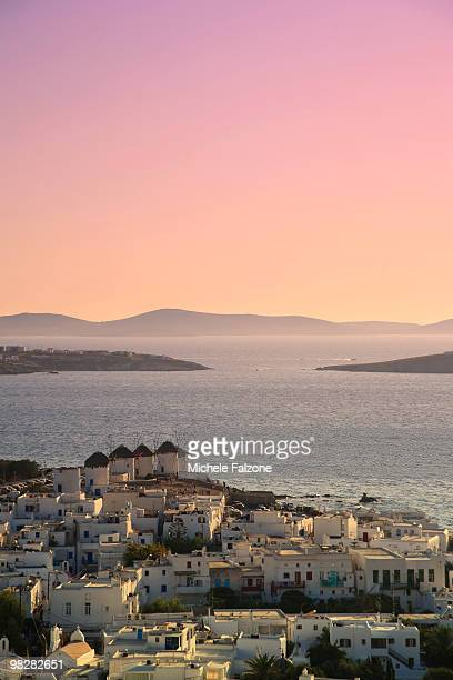 Greece, Mykons Town and old windmills